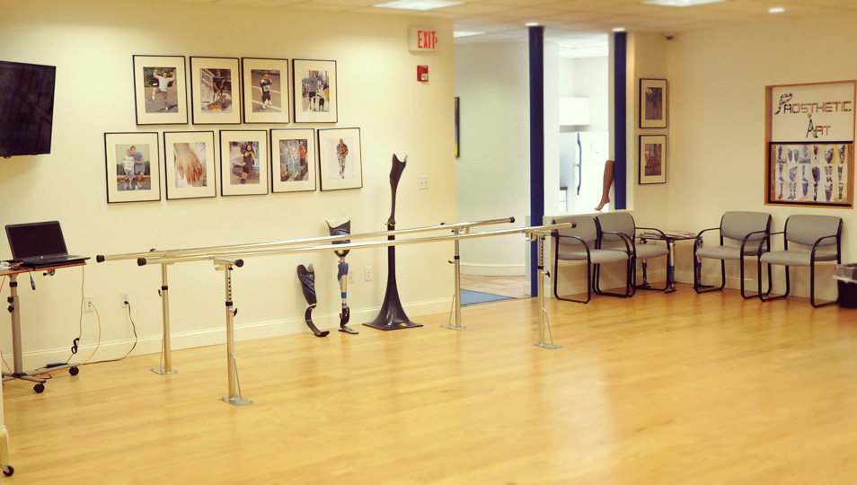 The vast gait area at A Step Ahead Prosthetics Boston.